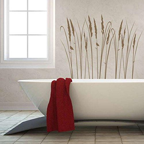 denoda® Gräser - Wandtattoo Grau 32 x 25 cm (Wandsticker Wanddekoration Wohndeko Wohnzimmer Kinderzimmer Schlafzimmer Wand Aufkleber)