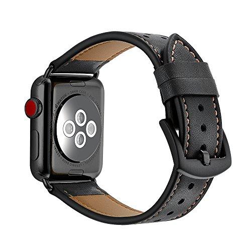 AISPORTS Compatible con Apple Watch Correa de piel de 40 mm y 38 mm para mujeres y hombres, suave y transpirable, correa de repuesto para Apple Watch SE/iWatch Series 6/5/4/3/2/1