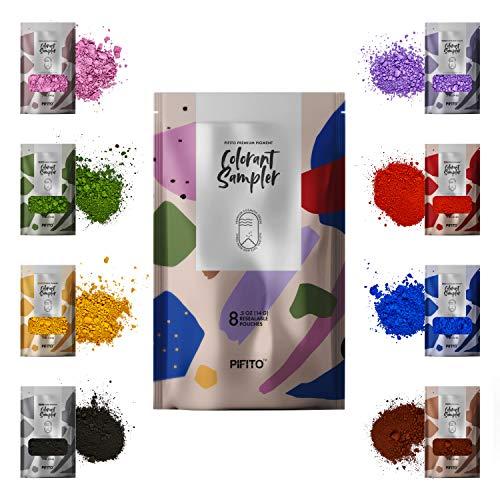 Premium Oxide Pigment Powder Colorants Set - 8 Beautiful Colors for Hand Soap Making Kit (.5 oz ea) - Red, Blue, Yellow, Lavender, Green, Brown, Black, Violet - Non Bleeding Colorant