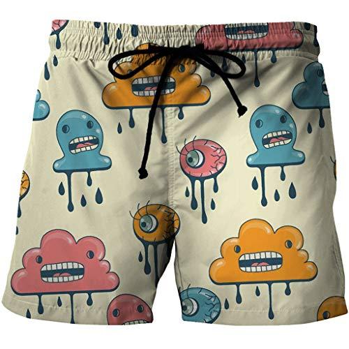 Mens Beach Trunks Board Shorts - Quick Dry Casual 3D Hot Te Smelten Weer Print Zomer Badkleding Broeken Met Pocket En Mesh Lining (Color : Multi-colored, Size : 4XL)