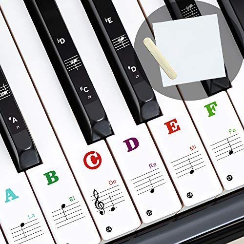Piano Stickers for 88/61/54/49 Keys Keyboard, Removable Piano Note Stickers for Kids Beginners, Colorful Large Bold Letter (Transparent & Black)