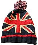 UK Union Jack Classic British Beanie with Tassel Pom Winter Hat, One Size Red