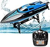 Rabing RC Bateau, 2,4 G RC High Speed Piscine Lacs Outdoor, 30 km/h, jouets radio pour adultes et enfants Bateau, Rechargeable Bateau de course par télécommande