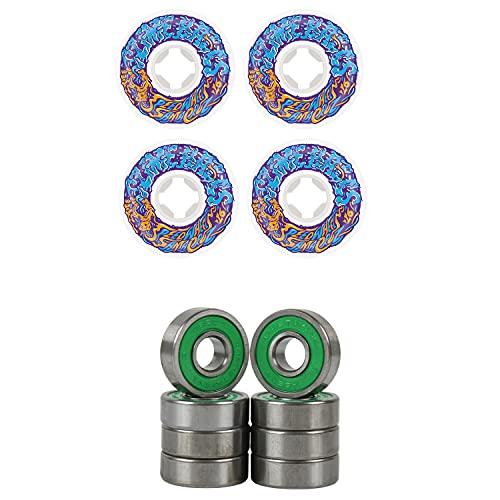 Slime Balls Skateboard Wheels 56mm Vomit Mini 97A White/Blue ABEC 7 Bearings