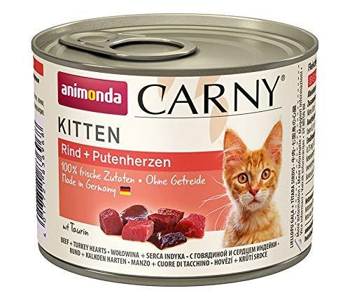 animonda Carny Kitten Katzenfutter, Nassfutter Katzen bis 1 Jahr, Rind + Putenherzen, 6 x 200 g