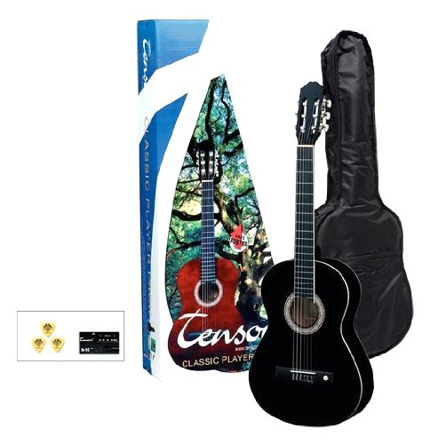 Tenson F502116 Konzertgitarre 4/4-Player Pack, schwarz