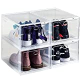 WAYTRIM Storage Shoe Box, Foldable Clear Sneaker Display Box, Stackable Storage Bins Shoe Container Organizer, 4 Pack - White, Large