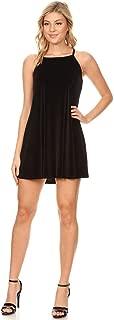 SWEETKIE Velvet Sleeveless High Neck Trapeze Dress, Mini Length, Party Dress for Women, Spaghetti Strap, Velvet Fabric
