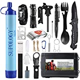 Gifts for Men Dad Husband, SUPOLOGY Emergency Kits Gear, 23-in-1 Cool Gadgets Tools with Water Filter for Camping, Hiking, Adventures, Backpack, Fishing, Hurricane