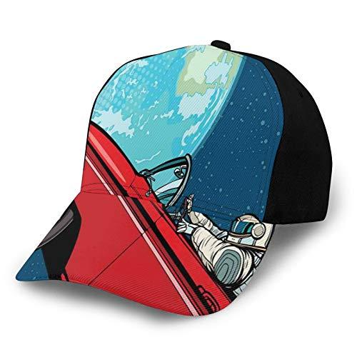 FULIYA Unisex en blanco lavado bajo perfil algodón papá sombrero gorra de béisbol cosmonauta conducir un coche a planeta tierra galáctica viaje ilustración