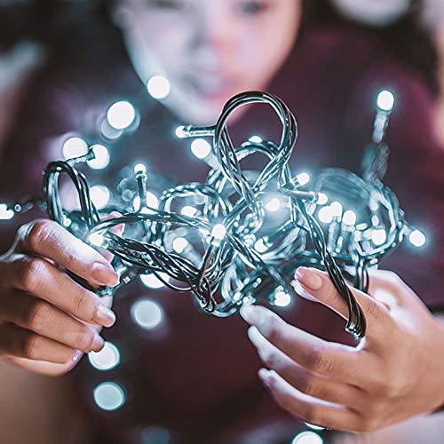 TOFU Außen & Innen 10M 100LEDs Lichterkette Weihnachtsbeleuchtung, IP44 Wasserdicht, Lichterkettenvorhang LED Dekorative für Weihnacht, Party, Schlafzimmer, 8 Modi(2. Kaltweiß, 2 Packungen)