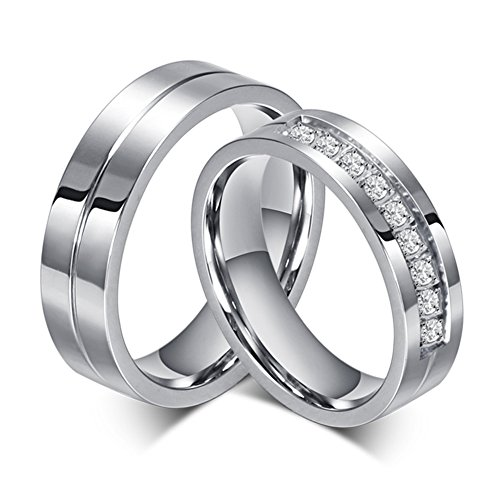 SWOPAN Couple Rings for Him and Her Stainless Steel Matching Promise Ring Princess Cut Bridal Wedding Engagement Band Cubic Zirconia CZ Ring for Women Men Love Bridal Jewelry Girls Gifts, Women Size 9