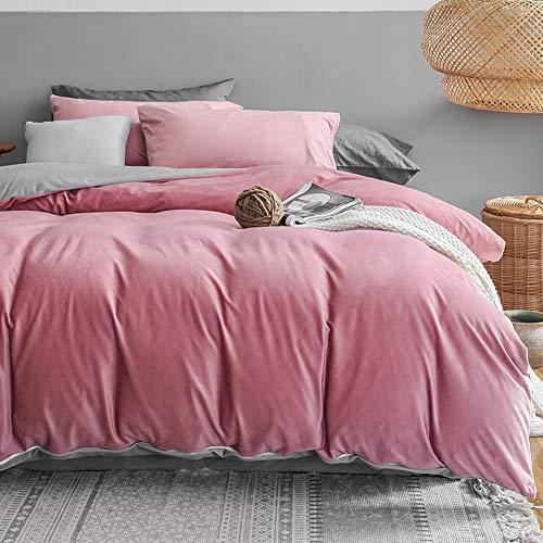 Juego de ropa de cama de invierno de Michorinee, 140 x 200 cm, cachemir, suave y cálido, coral, reversible, color rosa y gris, funda nórdica de 140 x 200 cm y funda de almohada de 70 x 90 cm