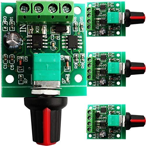 RUNCCI-YUN 4pcs PWM Controlador de Velocidad del Motor, Bajo Voltaje DC 1.8V-12V Interruptor de Controlador Ajustable,potenciometro 12v, con Perilla de Control Velocidad
