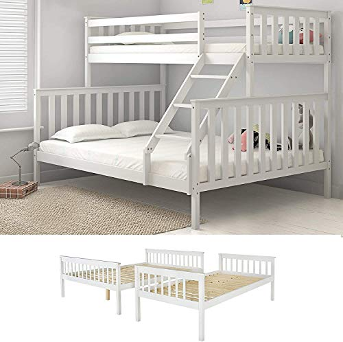 Panana Triple Sleeper Bunk Beds, Single Top Double base bed, Solid Wood Frame, Wooden Bed Frame (3FT+4FT6 with ladder)