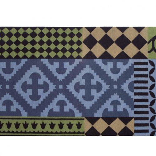 GAN Kilim Siracusa Teppich, blau grün schwarz 170x240cm