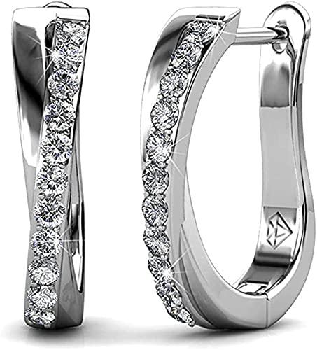 Pendientes de Lazo de aro 18k Oro Blanco con el Elemento Swarovski Crystal Sparking Gift para la Esposa Madre