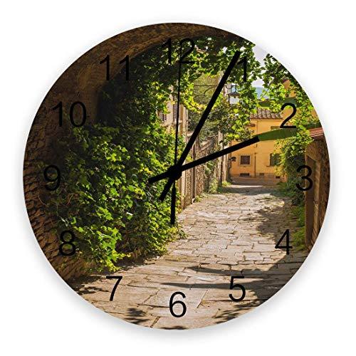Reloj de Pared Redondo de 10 ', The Way Archway Green Vine Stone Brick Road Edificio Retro Silencioso sin tictac Reloj Decorativo de Pared con Pilas de Cuarzo para Sala de Estar Dormitorio