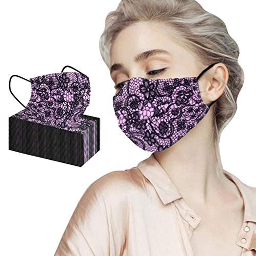 50Pc Purple Disposable Face_Masks Lace Print for Coronavịrus Protection,Dust_Mask with Elastic Ear Loops 3 Ply Breathable_Mask for Haze Dust Personal Protective for Adult Women Man