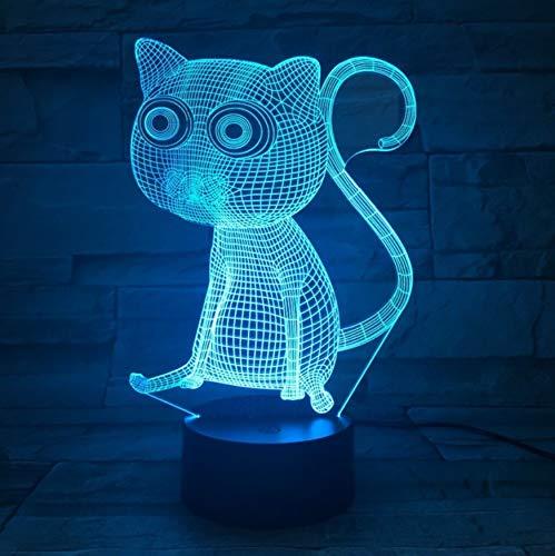 Mignon Animal Chat Coloré 3D Visuel Nuit Lumière Acrylique Tactile Commutateur Tableau Lampe Décoration Chambre Bureau Ambiant Lumières Sit Cat