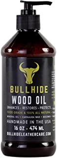 Bullhide - Wood Oil - Natural Wood Oil for All Non-Varnished Wood - Wood Counters, Butcher Blocks, Wood Furniture, Wood Floors, Patio Furniture and More - Made in USA - 16 oz.