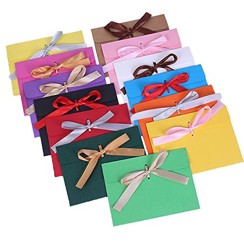 Farbiger Umschlag, 26 Stück Retro Mode Briefumschläge mit Bändern, Farbiger Umschlag, für Geschenkkarte Hochzeit Geburtstagsfeier Thanksgiving Festivals, 172 * 125 mm, 13 Farben