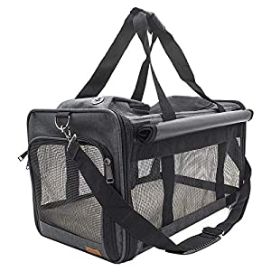 BELPRO Cat Carriers Dog Soft-Sided Carriers with 2 Curtains, Pet Carrier Bag Airline Approved for 15 Lbs Puppies/Kitten, 5 Mesh Windows, 1 Large Pocket for Comfortable Travelling (Dark Gray)