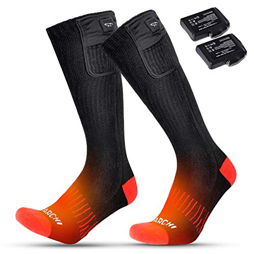 BARCHI HEAT 2020 Heated Socks for Men Women, Electric Rechargeable Battery Powered Ski Socks with 3 Heating Controllers for Motorcycle Cycling Hiking Hunting Camping Snowboarding