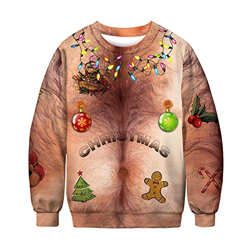 Fnsky Mannen Vrouwen Kerst Trui, 3D Printing Lange Mouw Sweatshirts Pullover, Novelty Fancy Jurk Kostuum Party Cosplay voor Volwassenen