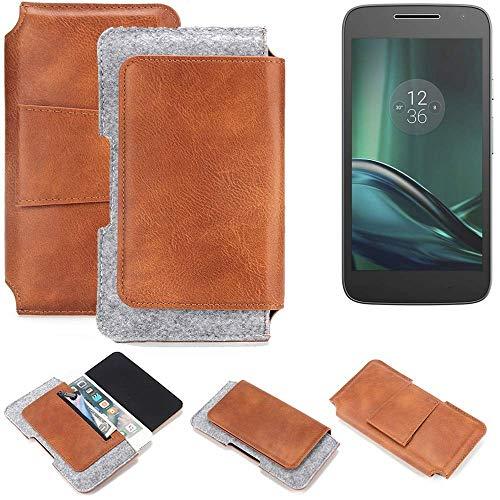 K-S-Trade® Schutz Hülle Für Lenovo Moto G (4. Gen.) Play Gürteltasche Gürtel Tasche Schutzhülle Handy Smartphone Tasche Handyhülle PU + Filz, Braun (1x)