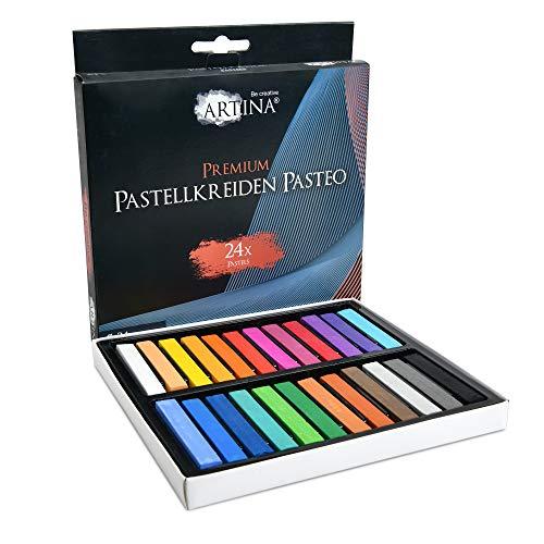Artina Set de tizas Pastel Pasteo Master Series Soft Pastell - Colores Pasteles de Estudio - Set de 24 Colores con Caja