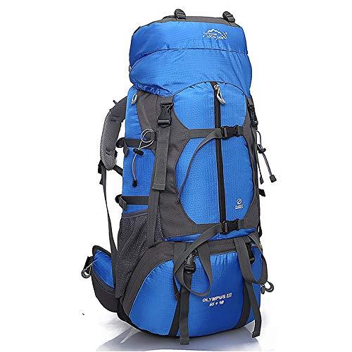 KNJF Wasserdichter Fahrradrucksack Mintern Rahmen 65L Rucksack Water-Resistant Wandern Daypack Rucksäcke Padded Back Support & gefederte Straps for Männer Frauen (Color : Blue, Size : 81 * 37 * 18cm)