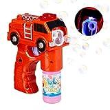 Relaxdays 10024935 LED Seifenblasenpistole Feuerwehr, batteriebetrieben, mit Seifenblasen...