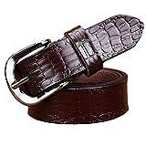 kaoling Cinturones cuero genuino la manera para mujeres Cinturón hebilla cocodrilo Mujer Segunda capa Correa piel vaca femenina Coffee 90cm
