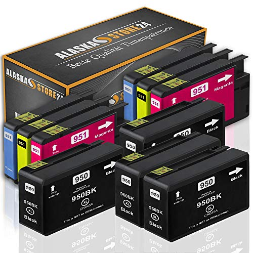Alaskaprint 10x Druckerpatronen Komp. für HP 950 XL 950XL 951XL 951 XL Multipack für Officejet Pro 8600 8610 8620 8100 8615 8625 251dw 276dw e-All-in-One Patronen