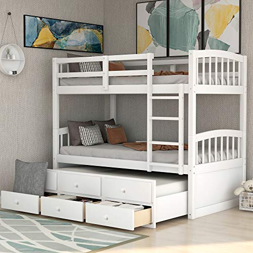 Twin Over Twin Bunk Bed, Trundle Bed for Kids with 3 Drawers, Teens Bedroom, Guest Room Furniture with Ladder, Safety Rail (White)