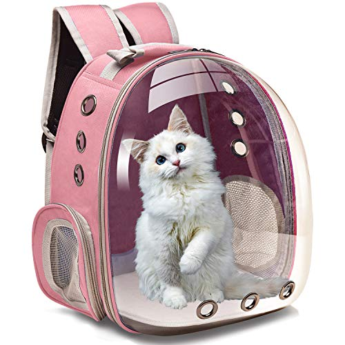 Henkelion Cat Carrier Dog Carrier Backpack, Pet Carrier Back Pack Front Pack for Small Medium Cat Puppy Doggie, Dog Body Carrying Bag Travel Space Capsule Knapsack - Pink