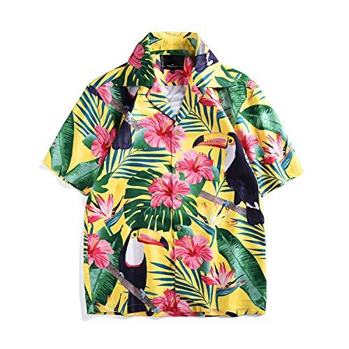 Camisa Suelta Pareja Camisa con Estampado de tucán Camisa de Estilo Tropical de Manga Corta y de Gran tamaño para Vacaciones