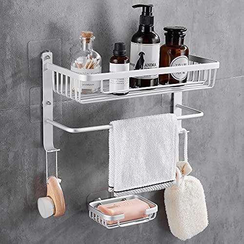 Gricol Estantería de ducha, sin agujeros, de aluminio, rectangular, inoxidable, autoadhesiva, con esponja, jabonera para baño y cocina (plateada)