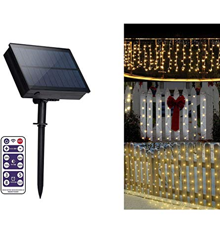 Solar Curtain Lights Outdoor 300 LED 8 Modes Remote Icicle String Lights Fairy String Lights Solar Fence String Lights Solar Balcony Lights Waterproof for Gardens Backyard Patio Landscape(Warm White)