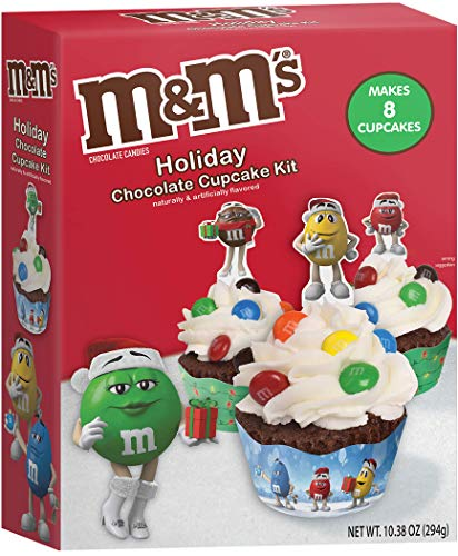 M&Ms Holiday Chocolate Cupcake Kit - 10.31 oz (294oz) - Makes 8 Christmas Themed Cupcakes for Parties - Novelty Baking Kit - Edible Arts and Crafts Project for Kids and Families