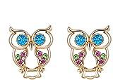 Aeici Ohrringe Damen Ohrringe Vergoldet Damen Ohrstecker Roségold Hohlen Eule Corlorful Cz 1.5+1.9 CM