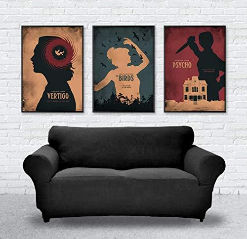 Vertigo, The Birds, Psycho Alfred Hitchcock Minimalist Movie Poster Set, Artwork Print, Cafe Decor, Wall Hanging, Office Decor, Home Decor, Horror Movie Poster, Unframed Print