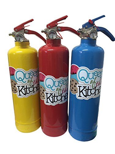 CUSTOMISED Designer Queen of Kitchen 1 kg ABC Trockenpulver-Feuerlöscher. Vollständig CE-gekennzeichnet, ideal für Zuhause, Küche, Arbeitsplatz, Restaurants, Cafés.