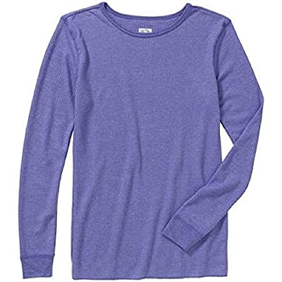 Fruit of the Loom Women's Waffle Thermal Crew Tops, Peri Pop Heather, X-Small