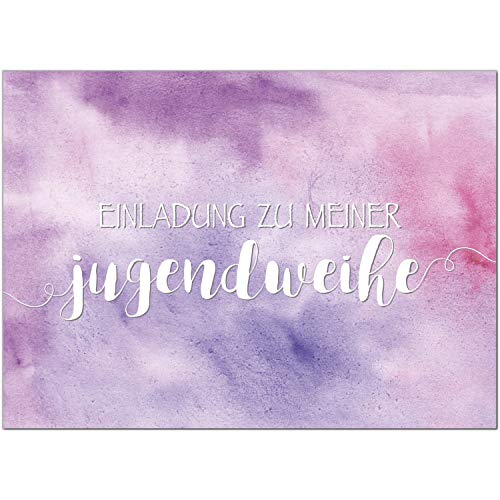 15 x Einladungskarten zur Jugendweihe mit Umschlag/Für Mädchen rosa lila Aquarell/Jugendweihekarten/Einladungen zur Feier