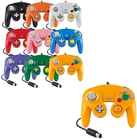 Mando para Game Cube, color blanco y conmutador, con cable, color naranja