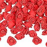 VINFUTUR 200pcs Rosas Artificiales Rojas Flores Falsas Pequeñas Rosas Espuma para DIY Regalos Decoración Jarrón Mesa Boda Manualidad