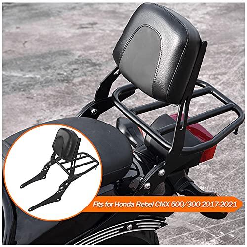 Fayedenicy CMX500 CMX300 Motorrad Sissy Bar aus schwarzem Stahl Beifahrer-Rücksitz Rückenlehne Gepäckträger-Adapter hinten für Rebel CMX 500 300 Moto-Zubehör 2017 2018 2019 2020 2021 17-21 (No.2)