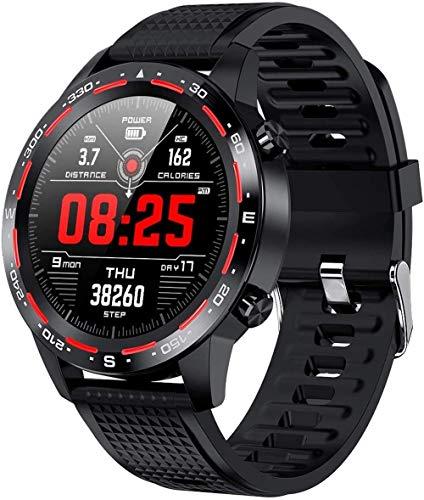 DHTOMC Reloj inteligente 1.54 pulgadas pantalla de alta definición llamada bluetooth impermeable multifuncional reloj deportivo de gama alta-negro/rojo